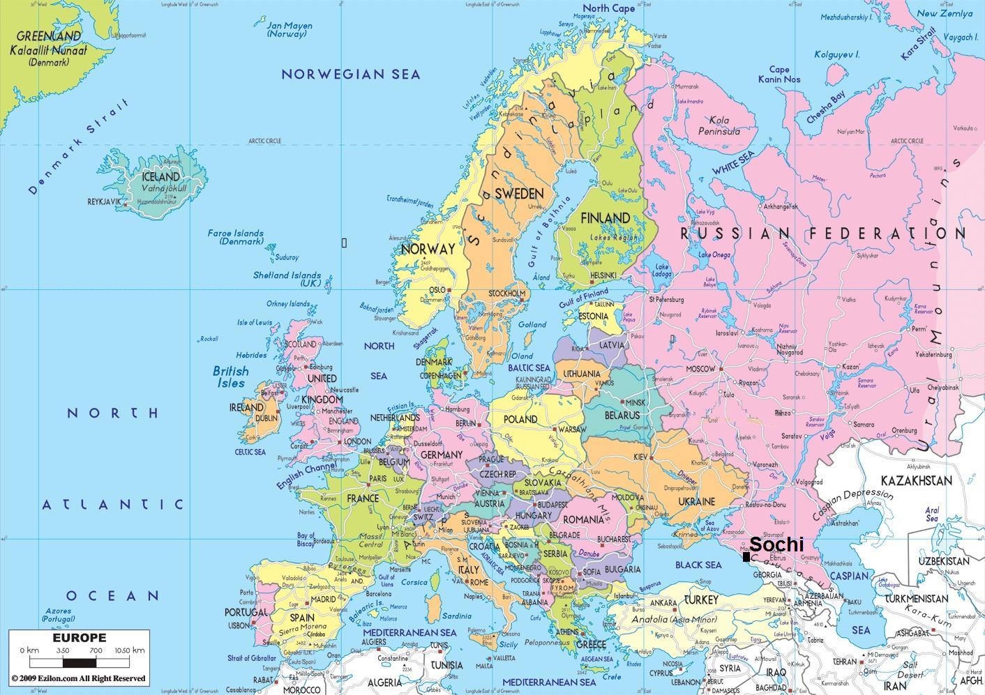 Karta Lander I Europa.Lander Nara Ryssland Karta Karta Over Lander I Narheten Av