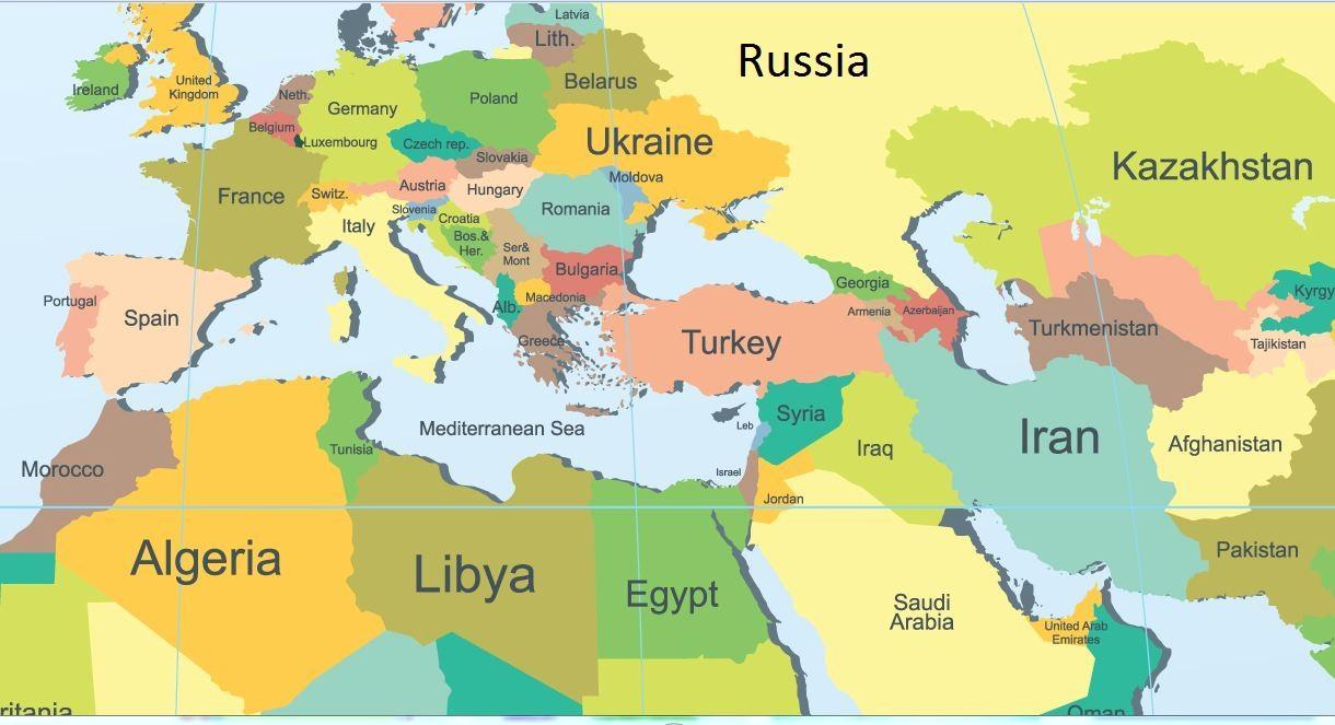 mellanöstern karta Mellanöstern och Ryssland karta   Karta över Ryssland och  mellanöstern karta