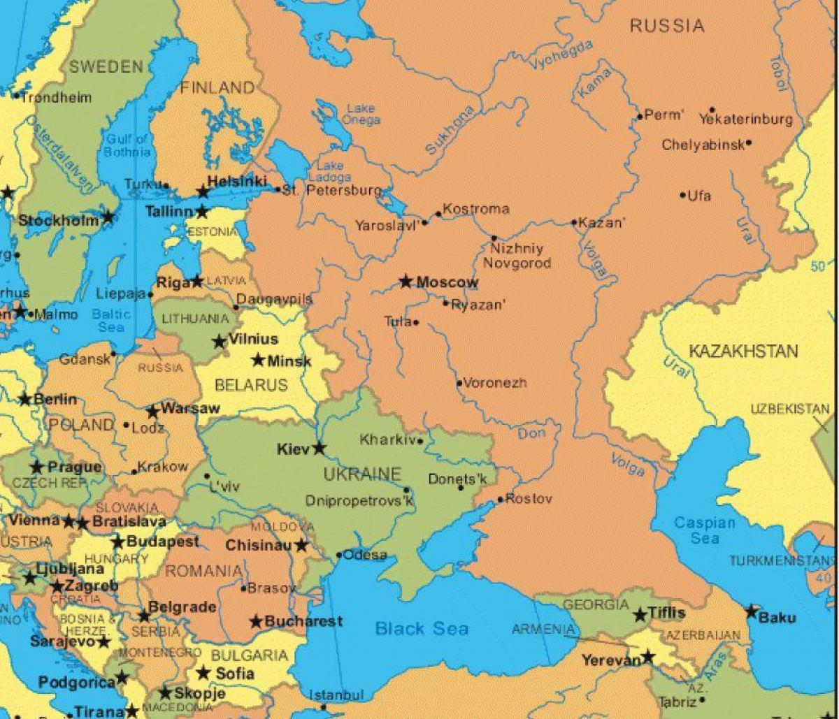 östra europa karta Karta över östra europa och Ryssland   Ryssland och östra europa  östra europa karta