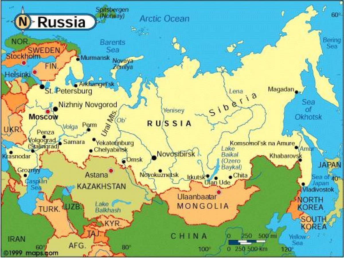 Karta Over Ryssland Och Kringliggande Lander Ryssland Och